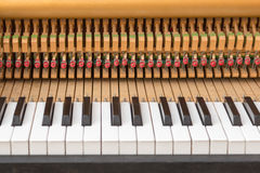 Open piano with black and white keyboard and interiors Stock Image