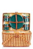 Open picnic basket with green plates Stock Image