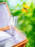 Open picnic basket and butterfly Stock Photography