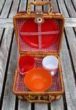 Open picnic basket on a table Stock Image