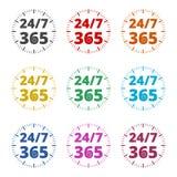 Open 24/7 - 365, 24/7 365, 24/7 365 pictogram, geplaatste kleurenpictogrammen Stock Illustratie