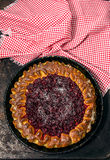 Open pie with cowberries Stock Photos