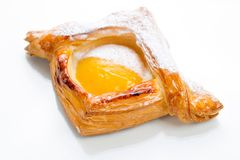 Open pies of puff pastry with peach, thyme and honey. Breakfast. Selective focus Stock Photography