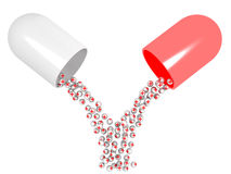 Open Pill. A 3d image of opened pill with many heal tablets inside Royalty Free Stock Photo
