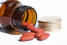 Open pill bottle Royalty Free Stock Images