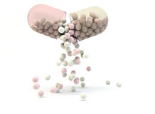 Open pill  with scatter drug. Yellow pink transparent pill open  with scatter drug on  a white background Royalty Free Stock Photography