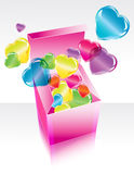 Open pink gift box with flying hearts. Open pink gift box with color flying hearts Royalty Free Stock Photo