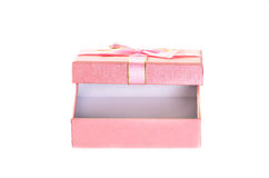 Open pink gift box isolated on white. Stock Photo