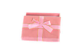 Open pink gift box isolated on white. Royalty Free Stock Photos