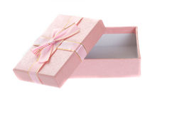 Open pink gift box isolated on white. Royalty Free Stock Photography
