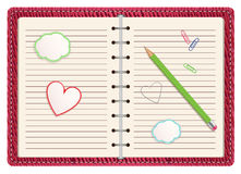 Open pink organizer. Open organizer on white background. vector illustration Royalty Free Stock Photo
