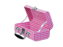 Open pink plaid lunch box. Isolated on white background Royalty Free Stock Images