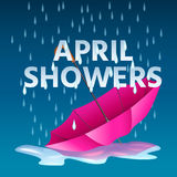 Open pink umbrella in puddles with rain and text april showers. Open pink umbrella in puddles with rain drops and text april showers. Realistic vector Stock Photo