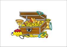 Open pirate treasure. Pirate treasure open gold illustration children Stock Images