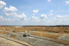 Open pit coal mine with excavators Stock Photography
