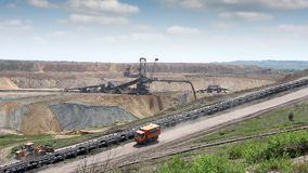 Open pit coal mine stock video footage