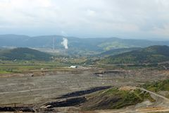 Open pit coal mine and thermal power plant Pljevlja. Montenegro Royalty Free Stock Photo