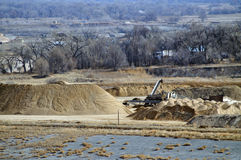 Open pit. Open gravel pit mine stock photo