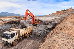 Open pit lignite mine. At mae moh Lampang Thailand stock photo