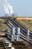 Open pit mine. Conveyor belts to transport brown coal from the open-pit mine to the power plant in Garzweiler, Germany stock image