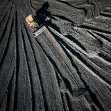 Open pit mine. Aerial view of extractive industry for coal. Top view. Photo captured with drone stock photo