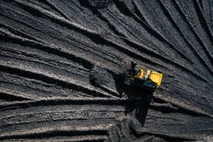 Open pit mine. Aerial view of extractive industry for coal. Top view. Photo captured with drone royalty free stock photography