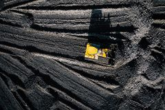 Open pit mine. Aerial view of extractive industry for coal. Top view. Photo captured with drone stock images