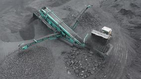 Open pit mine, breed sorting, mining coal, extractive industry stock video footage