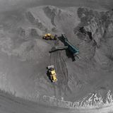Open pit mine, breed sorting, mining coal, extractive industry Royalty Free Stock Photo