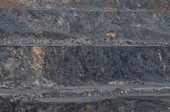 Open pit mine, digging for limestone stock image