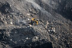 Free Open Pit Mine Industry. Big Yellow Mining Truck For Coal Moving On Road Career Royalty Free Stock Photo - 169749105