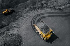 Free Open Pit Mine Industry, Big Yellow Mining Truck For Coal, Top View Aerial Royalty Free Stock Photography - 151769197