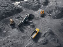 Free Open Pit Mine Industry, Big Yellow Mining Truck For Coal, Top View Aerial Drone Royalty Free Stock Photos - 196058008