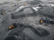Free Open Pit Mine Industry, Big Yellow Mining Truck For Coal, Top View Aerial Drone Royalty Free Stock Photos - 196820458