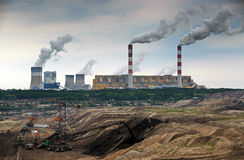 Open pit mine and power plant Stock Photography