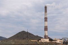 Open pit mine and power plant. HDR - high dynamic range.  stock photography