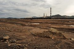 Open pit mine and power plant. HDR - high dynamic range.  royalty free stock images