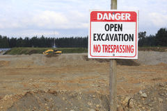 Open Pit Mine and Signage Royalty Free Stock Image