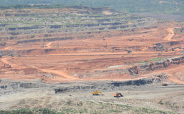 Open pit mining. Of coal and working machinery Stock Images