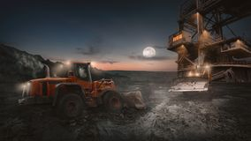 Free Open Pit Mining Heavy Machinery In Action Royalty Free Stock Image - 114337296