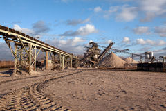 Open pit mining for sand and gravel stock photo