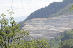 Open Pit Mountain Road Mine Stock Photo