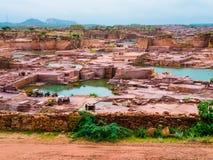 Open-pit red sandstone mine, Jodhpur, India. Panoramic view of an open-pit red sandstone mine, Jodhpur, India Stock Photo