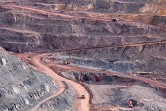 Open pit. Road with cars in the open pit Stock Image