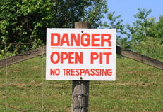 Open Pit Warning Sign Stock Photos