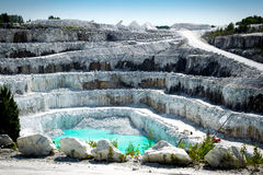Open Pit White Marble Mine. View of the rocky layers of a large and impressive open pit white marble stone mine Royalty Free Stock Photography