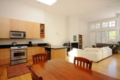 Open plan apartment. Living, dining room and kitchen Stock Photo