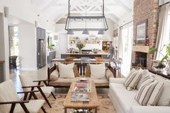 Open plan interior of a modern period conversion family home royalty free stock photo