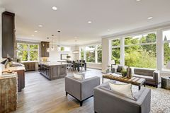 Luxurious new construction with open plan interior. Royalty Free Stock Photo