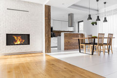 Open plan living room. Open plan home with living room, kitchen and dining area Stock Image